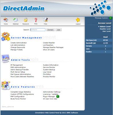 Bảng quản trị dành cho Admin của DirectAdmin
